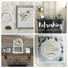 Refreshing your home decor; old windows, white and silver decor, prints, wreath, floral arrangements, quotes, entryway, mantle.