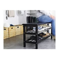 TJUSIG Bench with shoe storage - black - IKEA Fits Mudd room