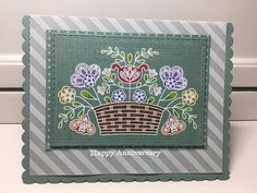 Thank you, Melissa, for this MIM challenge! I don't use my colored pencils nearly enough and this was so much fun!   PTI Cardstock - Ocean Tides, Ocean Tides bitty dot paper, Sheer Basics pattern pack vellum PTI ink - Ocean Tides PTI Stamps - Basket of Blessings, Inside & Out: Love PTI Dies - Noted: Scalloped A1, and A2 Other - White embossing powder, Prismacolor pencils, MFT Linen BG stamp