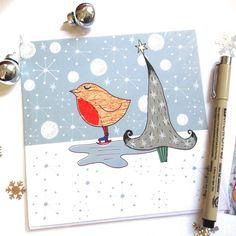 Skating Robin Christmas Card  Cute Robin Festive by @Slumbermonkey