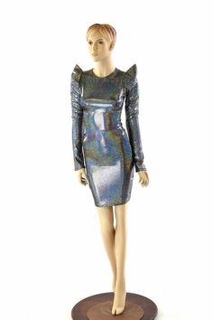 378c48d1debe Silver Holographic Sharp Shoulder Long Sleeve Crew Neck Dress Futuristic  Mod Party Dress 151997
