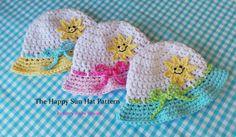 Crochet Pattern  HAPPY SUN HAT Baby Summer by KerryJayneDesigns
