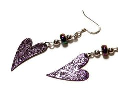 Purple heart dangle earrings by TheCraftingPlace on Etsy, $8.00