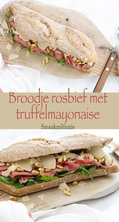 Broodje rosbief met truffelmayonaise Roast beef sandwich with truffle mayonnaise # Recipe Snacks for lunch Lunch Snacks, Clean Eating Snacks, I Love Food, Good Food, Yummy Food, Great Roasts, Roast Beef Sandwiches, Lunch Sandwiches, Breakfast And Brunch