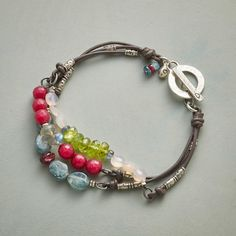 """DAUNTLESS BRACELET -- Bracketed by Thai silver beads, a bevy of stones—kyanite, garnet, labradorite, peridot, pink chalcedony and dyed jade—offer unabashed color on a leather bracelet fastened with a sterling silver toggle. Exclusive. 7-1/2""""L."""