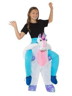 Kids Piggyback Unicorn Costume Girls Fancy Dress Costume One Size