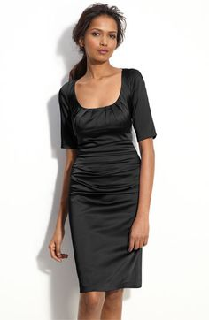 Suzi Chin Maggy Boutique Ruched Stretch Satin Sheath Dress