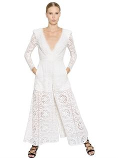 TEMPERLEY LONDON - WIDE LEG EMBROIDERED LACE JUMPSUIT - LUISAVIAROMA - LUXURY SHOPPING WORLDWIDE SHIPPING - FLORENCE