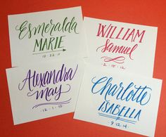 Baby name card, special event card, custom hand lettering > Bright Winter Studio on etsy