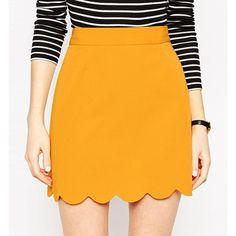 Desert Sunrise Scallop Hem Skirt-YELLOW-S ($22) ❤ liked on Polyvore featuring skirts, yellow, high-waist skirt, high waisted skirts, yellow high waisted skirt, high waisted knee length skirt and orange skirt