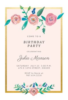 Spring Flowers Printable Invitation Template Customize Add Text