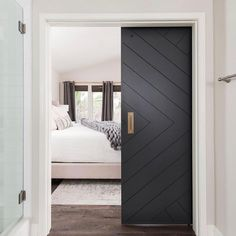 Barn style sliding doors applied as bedroom doors. Pocket doors Two-toned; used for Family room and J N J bath - June 16 2019 at - November 02 2019 at Home Bedroom, Modern Bedroom, Bedroom Ideas, Bedroom Door Design, Master Bedrooms, Quirky Bedroom, Bedroom Barn Door, Bedroom Closet Doors, Bedroom Country