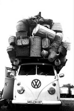 My mother, Anna, had this exact VW and this many baskets! Now I know where I get my crazy basket addiction from... Volkswagons too!