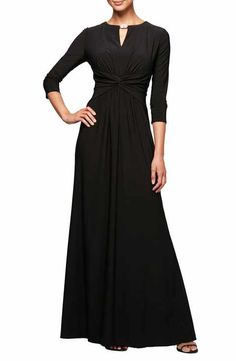 Alex Evenings Ruched Waist A-Line Gown