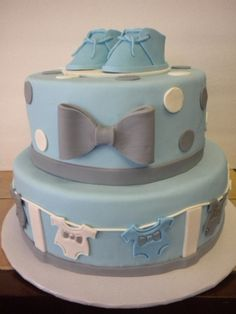 Bow-tie Baby Shower Cake