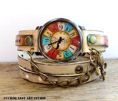 Bohemian leather watch, Women's leather wrist watch, Rustic wrap watch, Engraved…