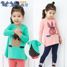 2013 autumn korean children baby bunny little girls long-sleeved t-shirt childrens leggings set 6618 only $12.71USD a Piece