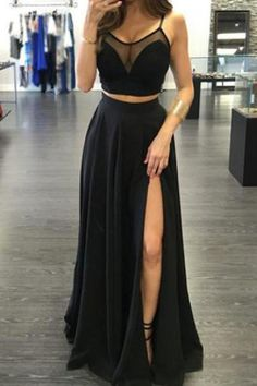 Two Pieces Prom Dresses, Evening Dresses Chiffon, Beautiful Evening Dresses, Prom Dresses Black #Beautiful #Evening #Dresses #Prom #Black #Two #Pieces #Chiffon Prom Dresses 2019 Black Prom Dresses, Cheap Semi Formal Dresses, Inexpensive Prom Dresses, Tight Prom Dresses, Prom Dresses 2018, Bridal Dresses, Discount Prom Dresses, Quinceanera Dresses, Spaghetti Strap Dresses