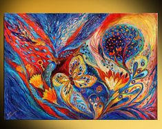 Israeli Jewish Art: The Chagall Dreams by Israeli artist Elena Kotliarker Marc Chagall, Folklore Russe, Chagall Paintings, Art Paintings, Acrylic Paintings, Original Paintings, Original Art, Dream Painting, Jewish Art