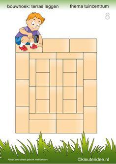 15 voorbeeldkaarten om een terras te leggen in de bouwhoek, kleuteridee.nl , thema tuincentrum, make a terrace in the block area 8.