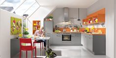 Have a look at the kitchen trends Open kitchens with bright contrasting colours, the LINE N Handless System, worktops out of traditional stone and granite Nobilia Kitchen, Kitchen Cabinets, Kitchen Ideas, Home Office, Color Concept, What's Trending, Modern, Table, Furniture