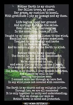 Mother Earth is my church Her fallen trees, my pews. Her grass, my cushion to kneel, With gratitude I pay my homage and my dues. Life begins upon her ground And springs forth to the skies. Ever changing, rearranging In the unending dance of life. Taught