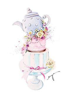 Cake Illustration, Food Illustrations, Watercolor Illustration, Food Drawing, Painting & Drawing, Cake Drawing, Watercolor Flowers, Watercolor Paintings, Tee Kunst