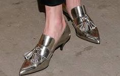 15673d4788b Image result for coach spencer tassel pumps Silver Kitten Heels