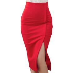 Skirts Women 2016 Autumn Winter High Waist Midi Lenght Tight Skirt Red Black Slit Bodycon Pencil Skirts Elegant Womens Office