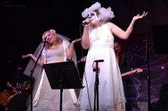 "Brides Andrea Wittgens and Jimm McIver perform their song ""Up and Coming Killer"" at Third Avenue Playhouse with Dan O Stoffels and James Hall photo by Teresa Young) Halloween Songs, Halloween Party Costumes, Dark Songs, Songs 2013, Nobodys Perfect, Live Music, Concert, Wedding Dresses, Third"