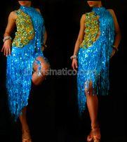 Blue Gold Sequin Dance Dress