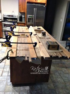 DIY Butcher Block Countertops - Katie's Crochet Goodies DIY countertops are very popular right now, and perfect for kitchen remodels