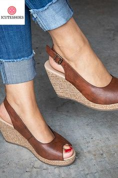 Wedge Sandals - Know Everything You Can About Shoes Now High Heels For Prom, Cute High Heels, Womens High Heels, Sandals Outfit, Fashion Sandals, Open Toe Sandals, Wedge Sandals, Comfortable High Heels, Shoe Wardrobe