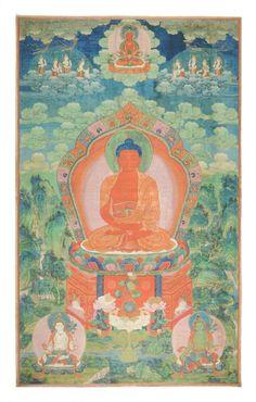 A FRAMED TIBETAN THANGKA OF AMITABHA BUDDHA, LATE : Lot 535