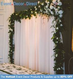 Event Decor Direct's Poly Premier Drape Fabrics are perfect for event designers that require flexible backdrops for all their events! Can be used for trade shows, church auditoriums, graduation ceremonies, speeches, weddings, and many more. Available in a wide variety of lengths and colors with Free Shipping options! Shop Now at EventDecorDirect.com Bridal Party Tables, Wedding Centerpieces, Wedding Decorations, Wedding Entry Table, Shower Centerpieces, Decor Wedding, Wedding Reception Backdrop, Ballroom Wedding, Wedding Draping