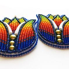 Beaded Tulip Earrings by MaRia A. Bird (Diné/Hopi/Santa Clara) @ Beyond Buckskin Boutique