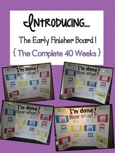 early finisher board - great idea, but may be too hard for 1st... make my own?