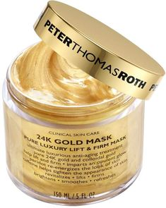 Gold Mask What it is : Infused with pure gold and colloidal gold, this mask by Peter Thomas Roth helps lift and firm skin while im. Peter Thomas Roth, Moisturizing Face Mask, Hydrating Mask, Facial Cleanser, Skin Firming, Skin Brightening, Colloidal Gold, Gold Skin, Eye Liner