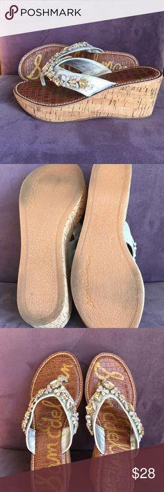 5ea1d0df023f SAM EDELMAN Randi Jeweled Wedge Thong Flip-Flops Darling