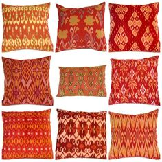Ikat Pillow Orange 16x16 12x18 Set of 9 by ginette1223 on Etsy, $180.00
