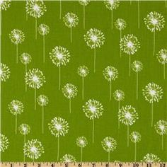 $7.48/yd Premier Prints Small Dandelion Chartreuse/White. Possible kitchen curtains.