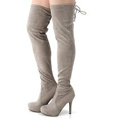 bb59d6d96c9 Dollhouse Deceive Lace Up Back Thigh Boots TAUPE ( 40) ❤ liked on Polyvore  featuring