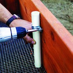 How to build the perfect raised bed.  Attach a pipe on the inside of the bed for a hoop for bird netting or row covers, attach four 12-inch pieces of 1-inch PVC pipe.