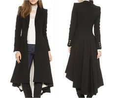 Gothic Victorian Military Button Up Black Trench Coat Jacket Worldwide Shipping #None #Military