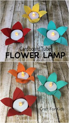 Flower Lamp Craft Cardboard tube flower lamp crafts for kids. Perfect crafts for Christmas and Diwali or any special occasion. Happy Diwali, Diwali Diy, Diwali Eyfs, Cardboard Tube Crafts, Paper Crafts For Kids, Cardboard Playhouse, Cardboard Toys, Diwali Activities, Craft Activities For Kids