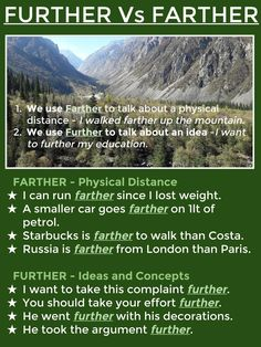 FURTHER Vs FARTHER
