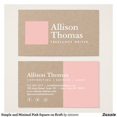 Minimalist Pink Square and White Ink on Kraft Paper Business Card - Fully Customizable - Great for Bloggers, Crafters, Artists, Stylists and more.