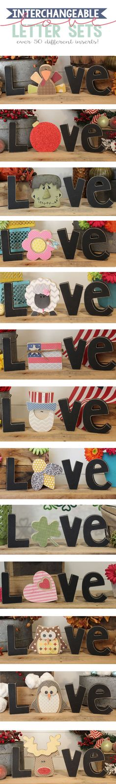 """Interchangeable wooden LOVE letters...you can swap out the """"O"""" for a different shape each month.  So cute!!"""