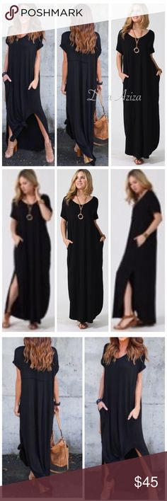 THE SOPHIE BOHO SUPER COMFY STRETCHY MAXI DRESS THE SOPHIE BOHO SUPER COMFY STRETCHY MAXI DRESS WITH SIDE SLITS & POCKETS AVAILABLE IN BLACK                                                       ➿OVERSIZED RUNS BIG SIZE DOWN 1 SIZE OR STAY WITH THE SAME SIZE             ➿CHARCOAL GREY AVAILABLE IN SEPARATE LISTING                                                                      ➿93% RAYON, 7% SPANDEX                                ➿ PRICE FIRM Dresses Maxi