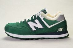 Joes New Balance 574 WL574CPY Suede Hunter Green White Wool Fur Winter Womens Shoes